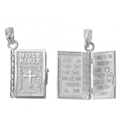 Sterling Silver Moveable Lord's Prayer Holy Bible Pendant