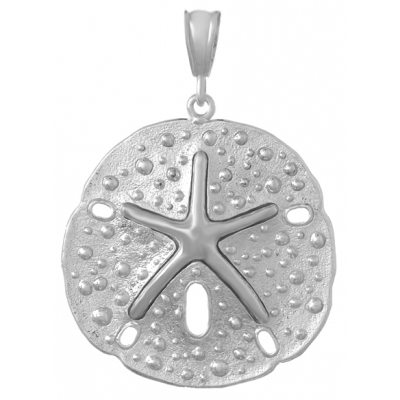 Sterling Silver 1 1/4in Sand Dollar with Dancing Starfish Pendant
