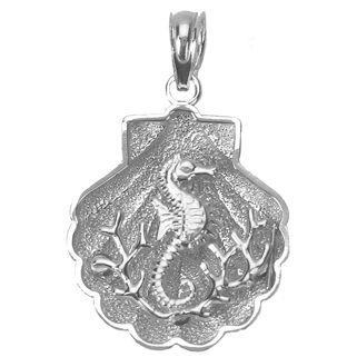 Sterling Silver 3/4in Shell Pendant with Seahorse Scene