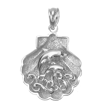 Sterling Silver 3/4in Shell Pendant with Dolphin Scene
