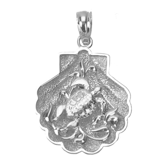 Sterling Silver 3/4in Shell Pendant with Sea Turtle Scene