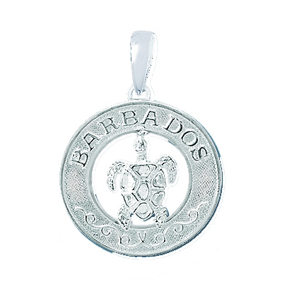 Sterling Silver 3/4in Barbados Pendant with Sea Turtle