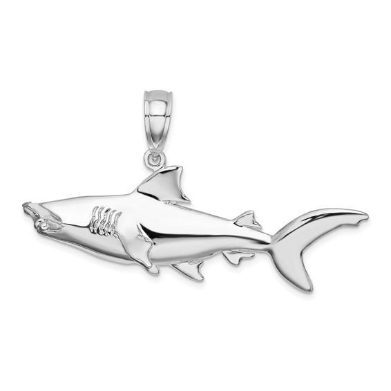Sterling Silver 3-D 3/4in Hammerhead Shark Pendant