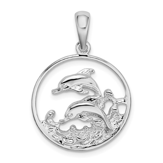 Sterling Silver 7/8in Two Dolphins in a Circle Pendant
