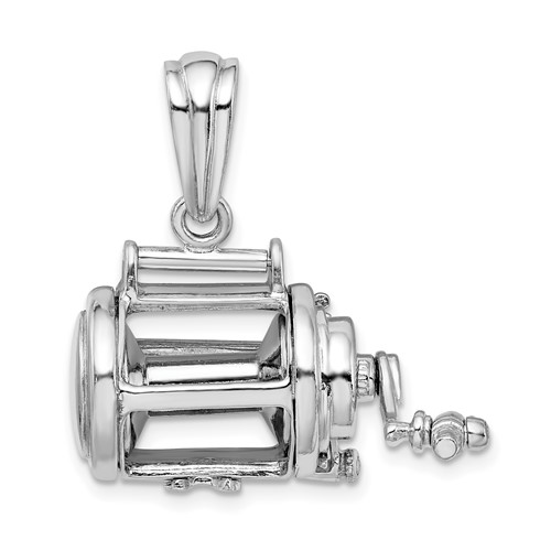 Sterling Silver 3-D and Moveable Fishing Reel Pendant 1in