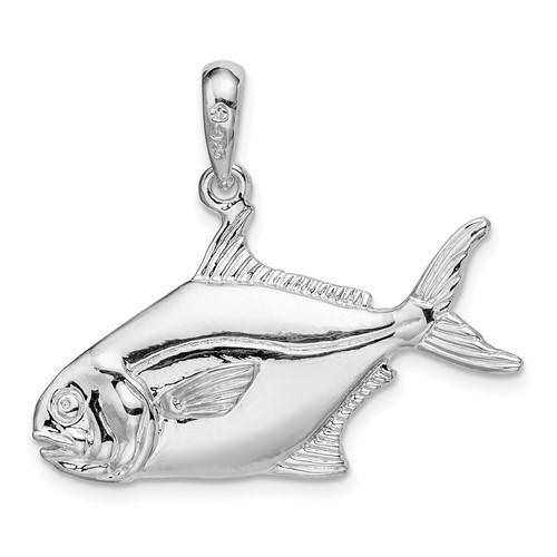 Sterling Silver 5/8in 3-D Pompano Fish Pendant