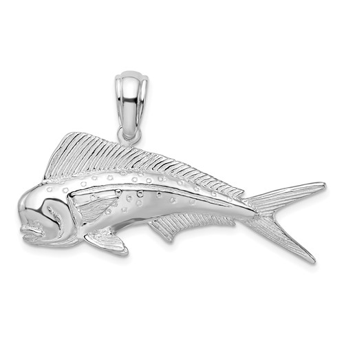 Sterling Silver 3/4in 2-D Mahi-Mahi Fish Pendant