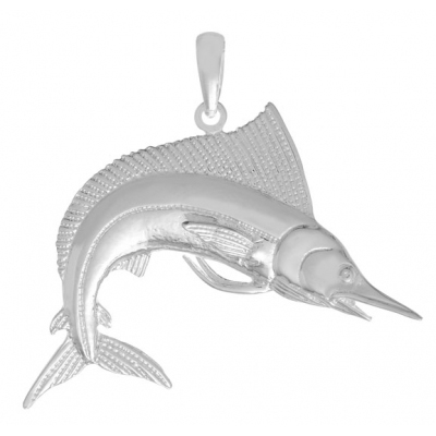 Sterling Silver 1 1/8in Striped Marlin Fish Pendant