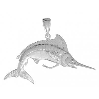 Sterling Silver 1 1/8in White Marlin Fish Pendant