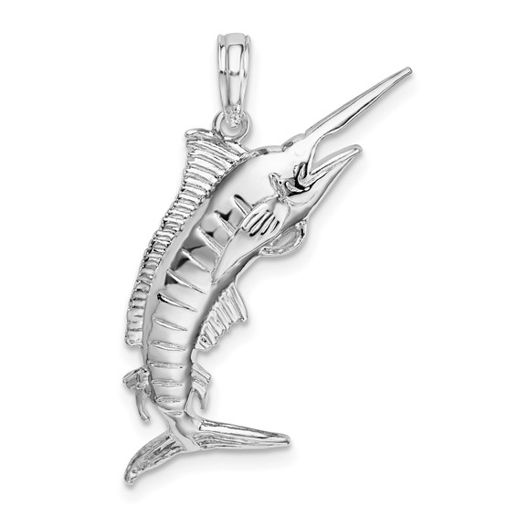 Sterling Silver 1 1/4in Vertical Blue Marlin Fish Pendant
