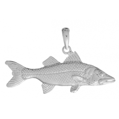 Sterling Silver 3/4in 3-D Textured Snook Fish Pendant
