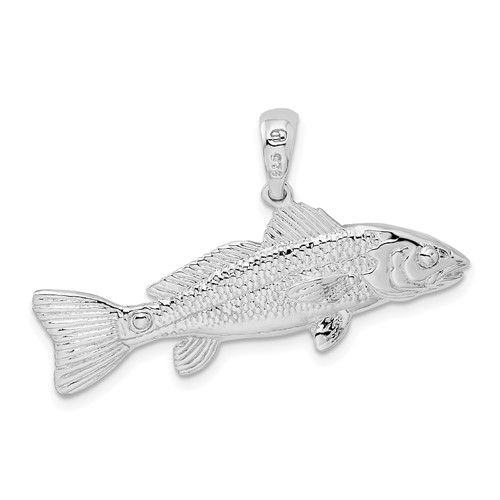 Sterling Silver 1 1/2in 3-D Red Fish Pendant
