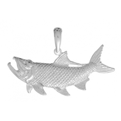 Sterling Silver 3/4in Open Mouth Tarpon Fish Pendant