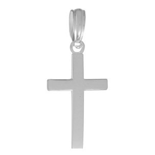 19mm Sterling Silver Beveled Cross Pendant with Square Tips