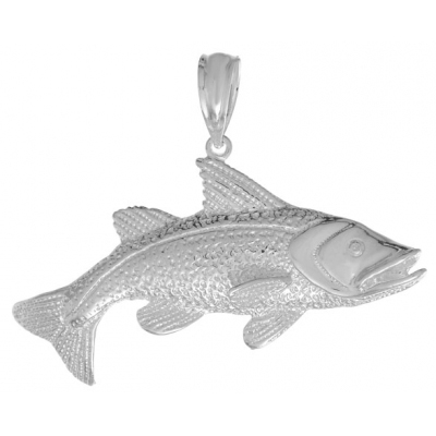 Sterling Silver 1in 2-D Large Red Fish Pendant