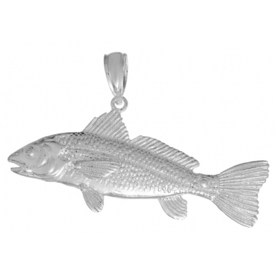 Sterling Silver 7/8in 3-D Large Red Fish Pendant