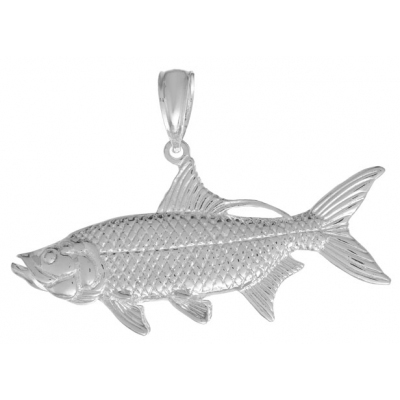Sterling Silver 7/8in 3-D Oxeye Tarpon Fish Pendant