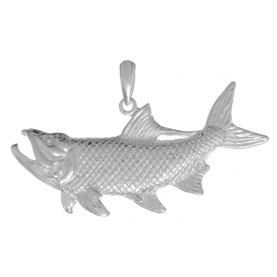 Sterling Silver 7/8in Tarpon Fish Pendant with Open Mouth
