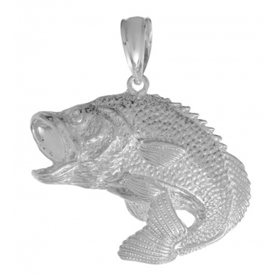Sterling Silver 1in Bass Fish Pendant with Open Mouth