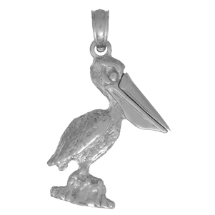 Sterling Silver 3/4in Pelican Pendant with Moveable Mouth