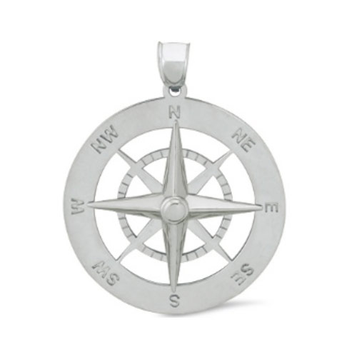 Nautical Compass Pendant 7/8in Sterling Silver