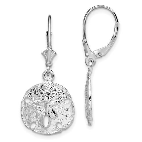 Sterling Silver Sand Dollar Leverback Earrings