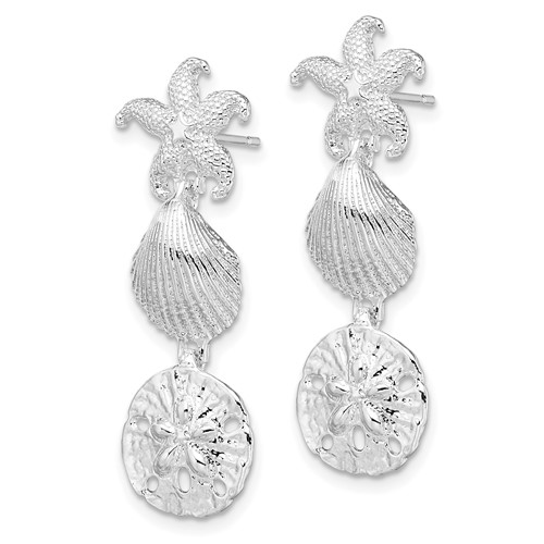 Sterling Silver 1 5/8in Sand Dollar Starfish Scallop Earrings