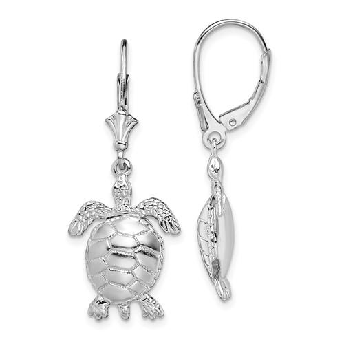 Sterling Silver Sea Turtle Moveable Leverback Earrings