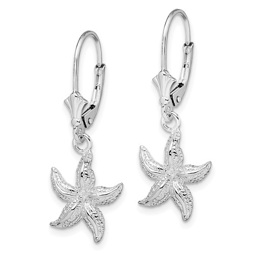 Sterling Silver Small Starfish Leverback Earrings