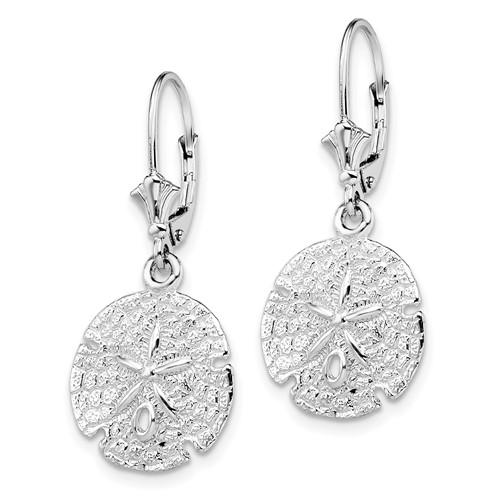 Sterling Silver Sand Dollar Leverback Dangle Earrings