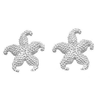 Sterling Silver 5/16in Beaded Starfish Post Earrings