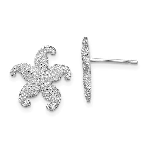 Sterling Silver 5/16in Beaded Starfish Post Earrings