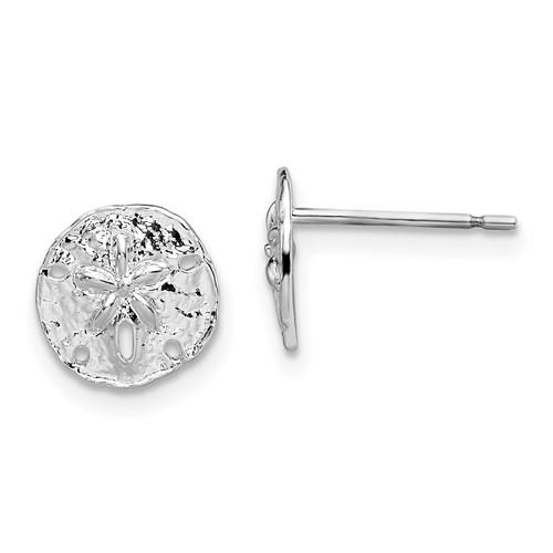 Sterling Silver 3/8in Mini Sand Dollar Post Earrings