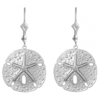 Sterling Silver Sand Dollar Leverback Earrings with Starfish Center