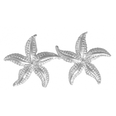 Sterling Silver 3/4in 2-D High Polished Starfish Post Earrings