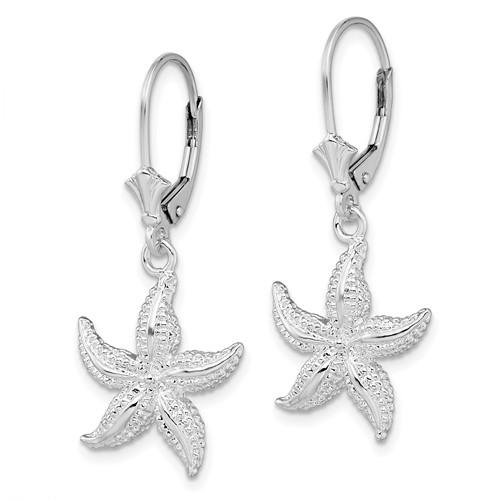 Sterling Silver 2-D Starfish Leverback Earrings
