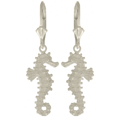 Sterling Silver 3-D Seahorse Leverback Earrings
