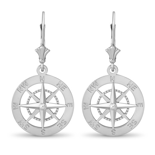 Leverback Compass Earrings Sterling Silver