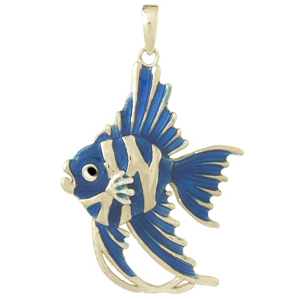 Sterling Silver 1 1/4in Angelfish Pendant with Enamel