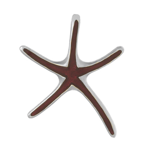 Sterling Silver 1 1/8in Starfish Pendant with Enamel