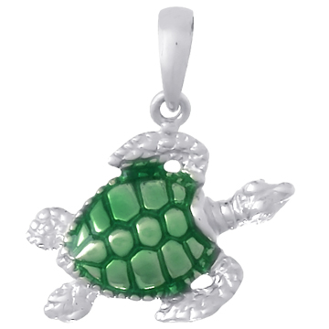 Sterling Silver 3/4in Sea Turtle Pendant with Green Enamel