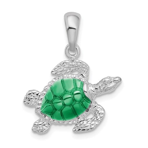 Sterling Silver 3/4in Sea Turtle Pendant with Green Enamel