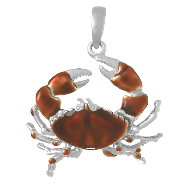 Sterling Silver 7/8in Crab Pendant with Orange Enamel