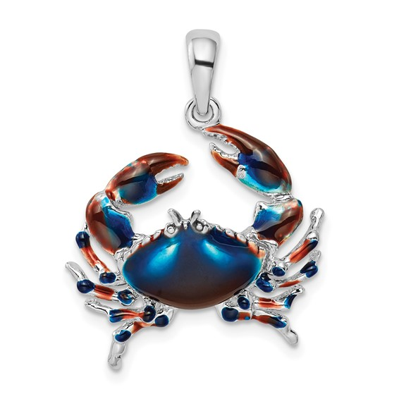 Sterling Silver 7/8in Blue Crab Pendant with Enamel