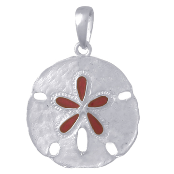 Sterling Silver 3/4in Magenta Enamel Sand Dollar Pendant
