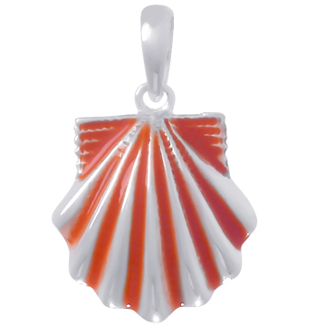 Sterling Silver 3/4in Scallop Shell Pendant with Orange Enamel