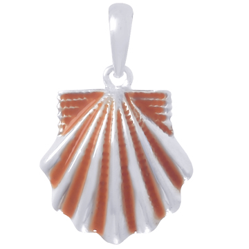 Sterling Silver 3/4in Scallop Shell Pendant with Tangerine Enamel
