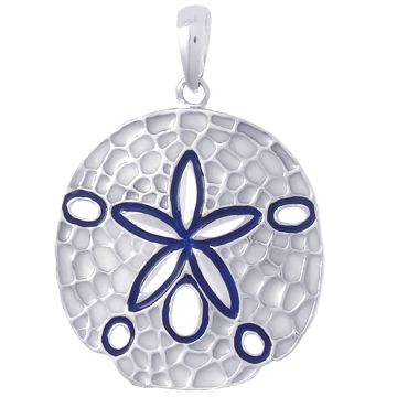Sterling Silver 1in Sand Dollar Pendant with Blue Enamel