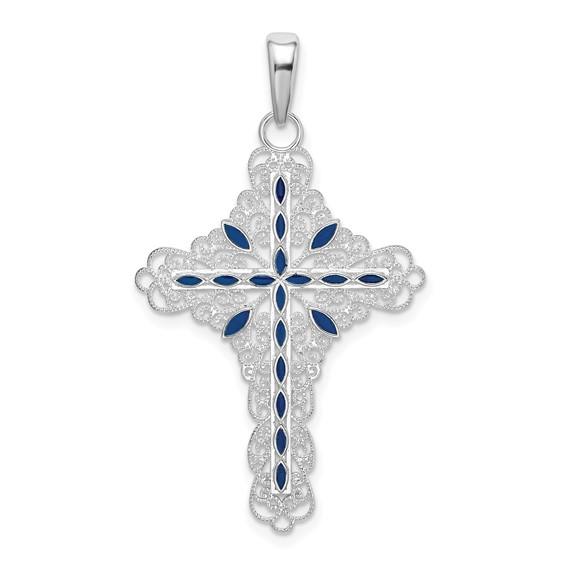 Sterling Silver Filigree Cross Pendant with Blue Enamel 1iin