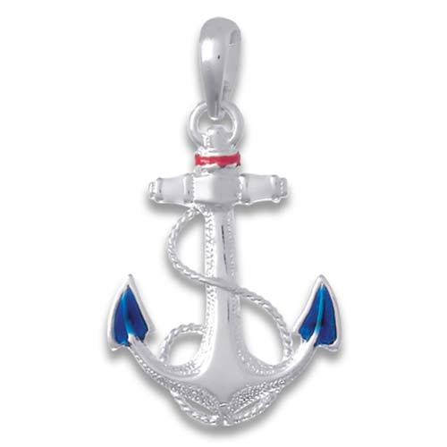 Sterling Silver Anchor Pendant with Blue Enamel 1 1/4in